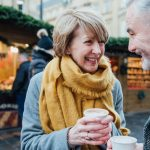 Mature couple dating at winter market